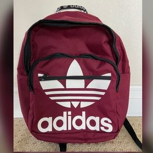 Burgundy Adidas Original Trefoil Backpack unisex